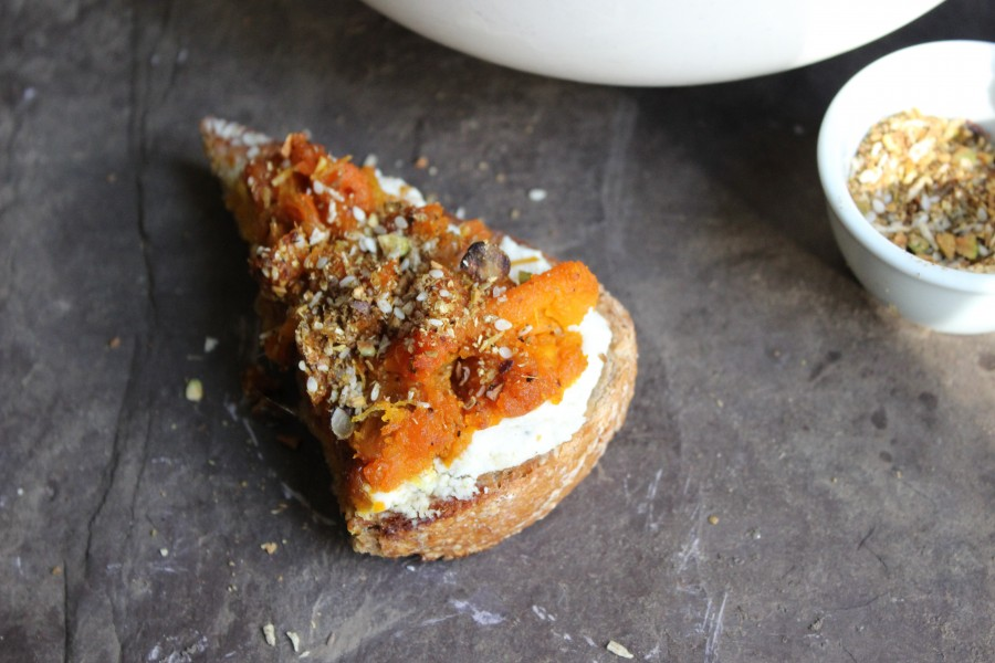 squash toast with whipped feta and pistachio dukkah
