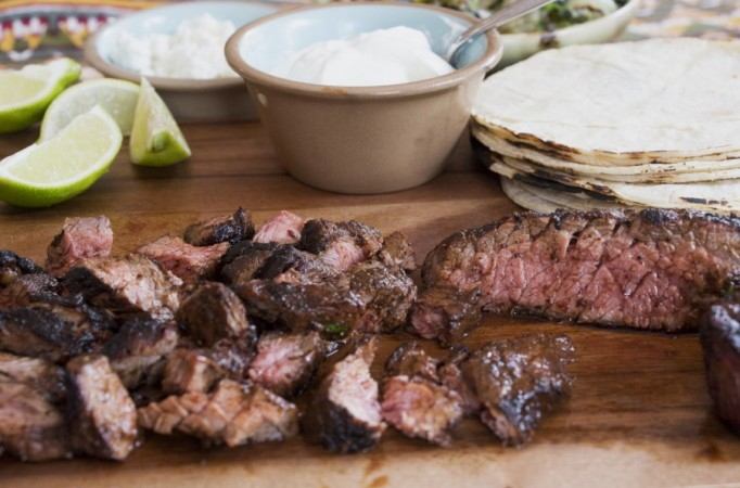 ... Chile & Cocoa Spiced Steak Tacos with Grilled Poblano & Onion Salsa