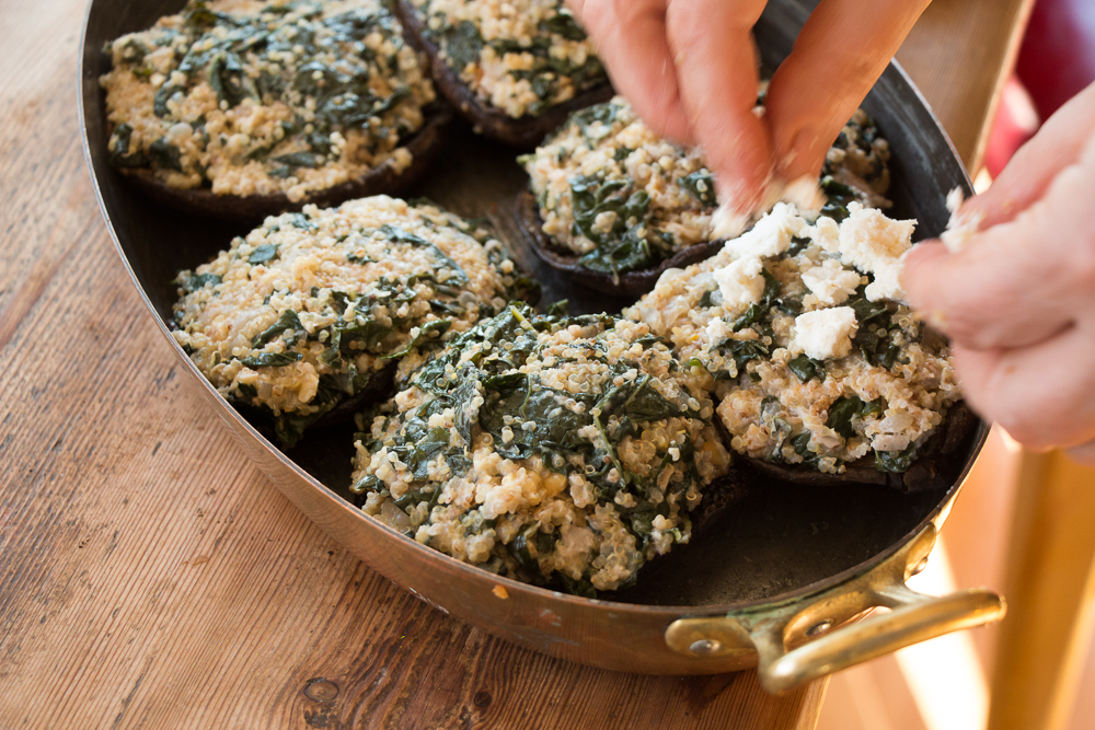 kale and quinoa stuffed portobello mushrooms