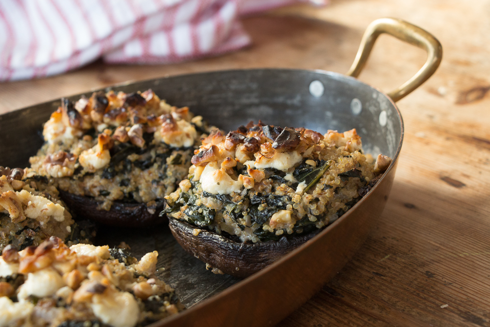 kale & quinoa stuffed portobello mushrooms