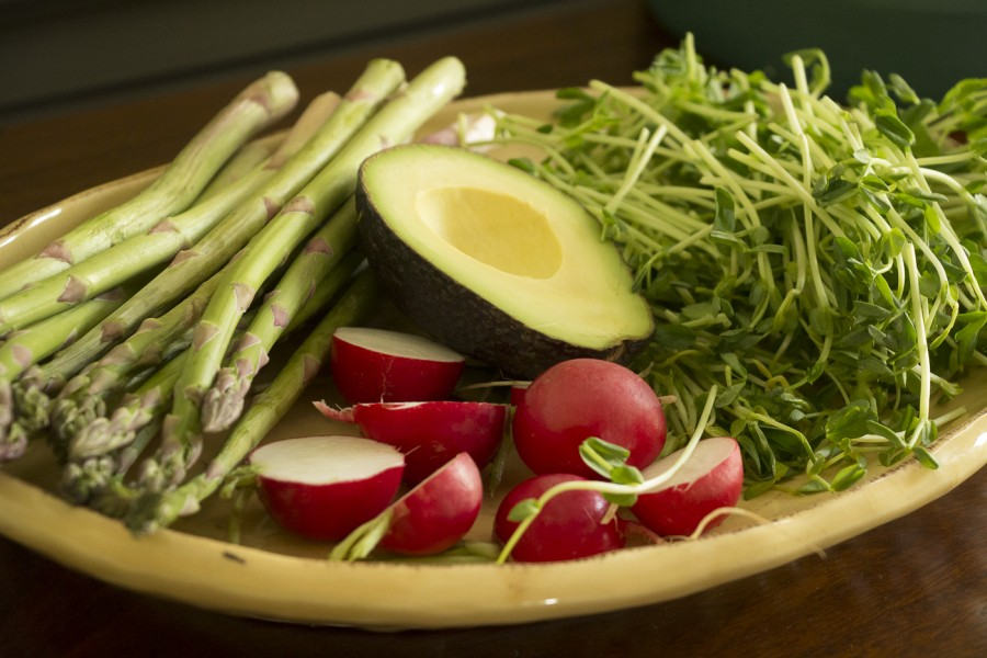 spring salad - asparagus, pea shoots, avocado and radish