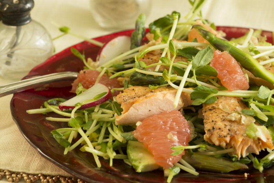 Asparagus, grapefruit, pea shoots salad with salmon